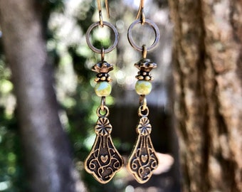 Green Earrings, Bohemian Earrings, Bohemian Jewelry, Bronze Earrings, Boho Earrings, Dangle Earrings, Rustic Earrings, Ethnic Earrings