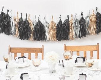 Gold, Silver, Black Tassel Garland Decoration/ Gold Tassel Decor/ Silver Tassel Decoration/ Wedding Tassel Garland/ Dramatic Tassel Decor