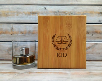 Whiskey Stones | Personalized Bamboo Case | Gift Set | Attorney At Law | Stainless Steel | Laser Engraved | Fathers Day Gift | Set of 9