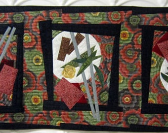 Hong Kong Garden - Art Quilt - Food -  Plate - Art - Wall Hanging - Red - Black - Green - Handmade - Quilt - Original - Art - Textile