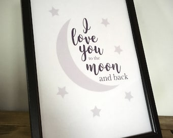 I love you to the moon and back - Framed Print - Blue