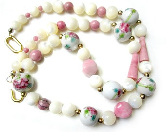 """Vintage Glass Beaded Necklace Pink Painted Rose Gemstone Necklace Vintage Mother of Pearl Painted Glass Necklace 20"""""""