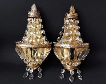 SALE French Crystal Wall Light Sconces Pair of Antique Empire style montgolfier Sconces Crystal Drops Sconces French vintage lighting