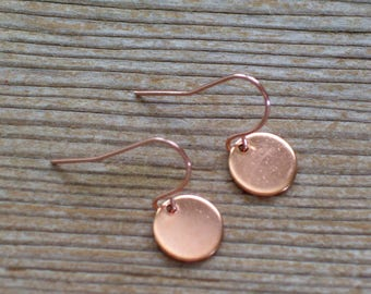 Rose Gold Earrings, Minimalist Earrings, Rose Gold Disc Earrings, Dainty Earrings, Everyday Earrings, Gift For Her, Rose Gold Jewelry