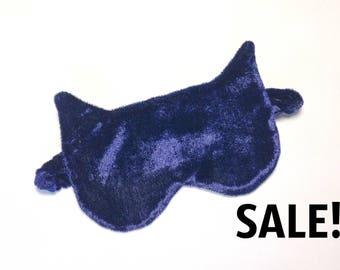 Сat sleep mask, velvet sleeping mask, sleepwear, blue sleep mask, sleeping eye mask, night mask, travel mask, SALE! FREE SHIPPING