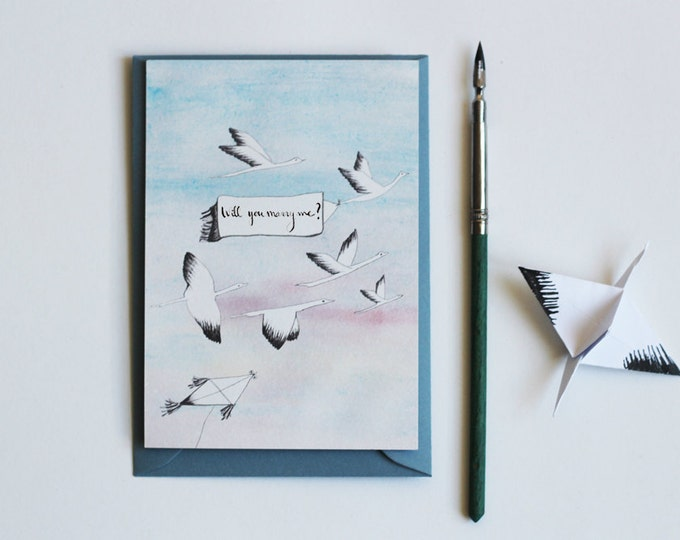postcard illustrated watercolor & ink - message to customize (birthday, birth, congratulations...) - birds + kite