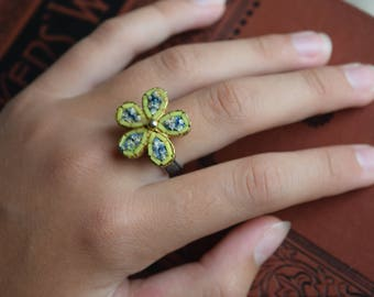 Vintage Micro Mosaic Flower Ring, OOAK Repurpose Mosaic Ring, Adjustable silver plated Ring, Jewelry gift for her