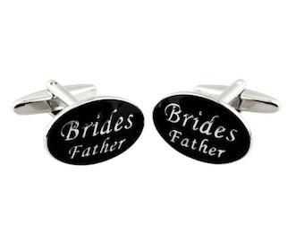 Oval Groom Wedding Cuff Link Black Enamel, Rhodium Plated Brass