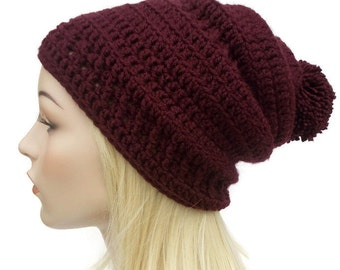 Maroon Beanie, Slouchy Hat, PomPom Hat, Womens Hats, Slouchy Beanie, Gifts for Teenage Girls, Crochet Beanie, Gifts for Girlfriend, Cute Hat