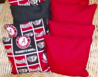 4 PC Set of Corn Hole Game Bags in Alabama Print with 4 Red Duck Canvas Game Bags
