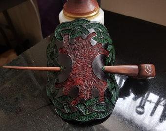 Handmade/ Hand Tooled Celtic Tree Of Life Hair Barrette 100% Real Leather