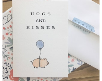 HOGS AND KISSES // hugs and kisses, love card, friendship card, cute card, pun card, punny, greeting card, piggy, pig card, funny love card