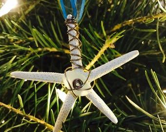 Seaglass and starfish ornament, beach ornament, nautical christmas