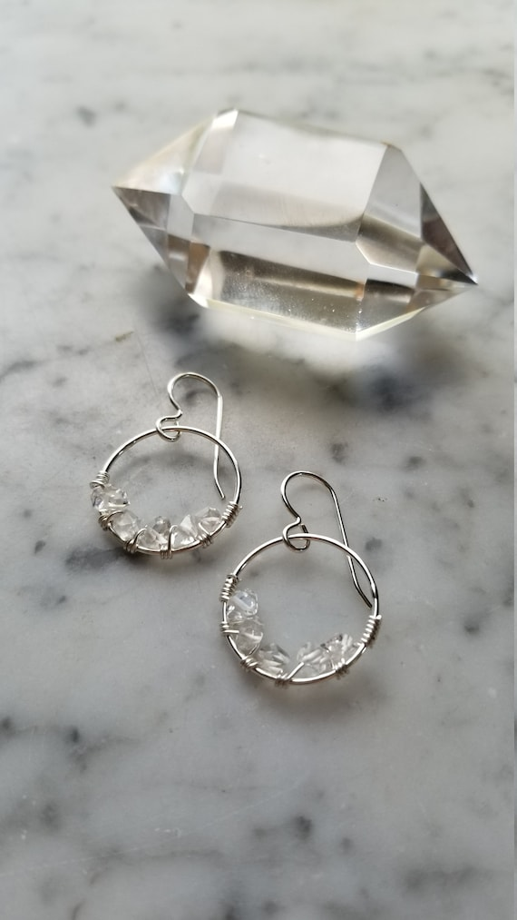 """0.75"""" wide Herkimer diamond lined sterling silver hoops Pleiades seven sisters half moon large"""