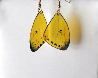 Handcrafted Butterfly earrings, 14 k gold, sterling silver or hypoallergenic, jewelry, Dangle earrings, butterfly wing earrings