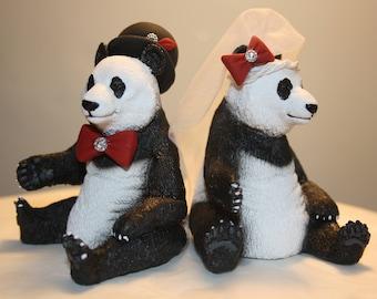 Panda Bear Bride And Groom Custom Wedding Cake Topper - Black and White Wedding - Animal Cake Topper - Personalized Cake Topper; Funny; Cute