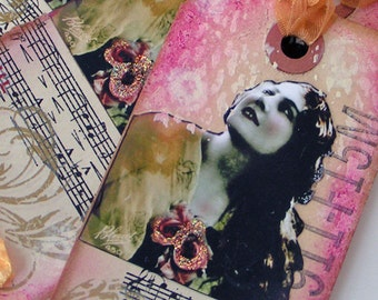 Gift Tags Original Collage Mixed Media Vintage Lady Set of 4