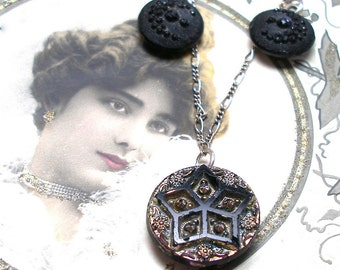 STARS Antique BUTTON necklace, Victorian Moon & stars on sterling silver, button jewellery.
