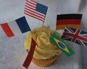 12 National Flag Cupcake Flags, Sandwich Picks