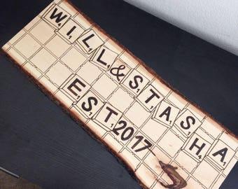 Custom Scrabble Letter Name Plates (Large Size for Wedding & Smaller Size for Single Name)