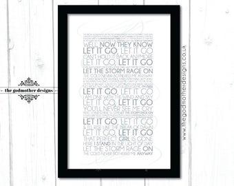 Let It Go, Frozen, Idina Menzel - Quote- Typography - PRINT