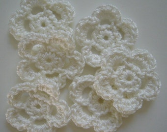Crocheted Flowers - White - Cotton Flowers - Crocheted Flower Embellishments - Crocheted Flower Appliques - Set of 6