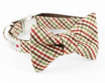 Brown Plaid Dog Bowtie Collar
