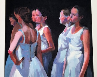 Dancers at the Backstage- illustration paper print- wall art-11.6/11.8 inch