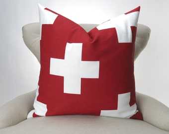 Red Cross Pillow Cover -MANY SIZES- Throw Pillow, Euro Sham, Decorative, Lipstick Red & White, Large Swiss Cross design by Premier Prints