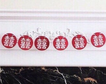 "6 Foot - Endless Double Happiness Garland in Brick Red -  3.5"" Double Happiness"