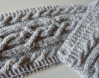 Knitted aran scarf, white scarf, off-white scarf, christmas gift, knitted wool scarf, grey scarf, mens scarf, women's scarf, winter scarf