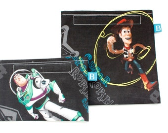 Reuseable Eco-Friendly Set of Snack and Sandwich Bags in Buzz and Woody Fabric