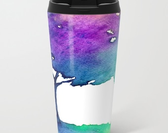 Travel Mug - Ceramic or Metal Coffee Cup - Hue Tree Watercolor Painting - Artistic Hot Cold 12 or 15oz Beverage Mug