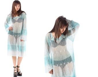 Blue MESH Dress 90s Mini Sheer Tank Dress Ombre Skater Floral Beach Cover Up Boho Hippie Grunge Cut Out Long Sleeve Sundress Sun Large