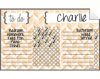 Dry Erase Chart, Chore Chart, Dry Erase Chore Chart