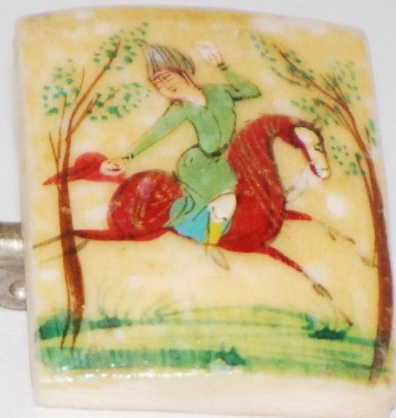 Miniature Painted Bone Brooch of Mughal Hunter on Horseback