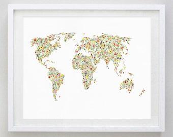 World Map Floral Watercolor Art Print