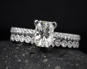 Wedding Set - Radiant Cut Engagement Ring - Forever Brilliant Moissanite - Round Diamond Milgrain Band