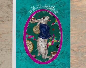 FOLLOW the WHITE RABBIT Greeting Card, White Rabbit Card, Alice in Wonderland Card, Alice Greeting Card, Alice Art Card, Whimsical Card