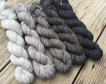 SWM Blackbeard's Revenge Hand Dyed Gradient Sock Yarn Mini Skein Set 475 yards Treasured Toes superwash merino silver grey gray black