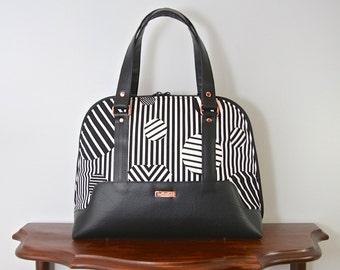 Bowler bag, medium handbag, medium purse, zippered handbag, zippered purse
