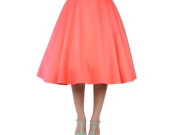 Coral Pinup Vintage Inspired Full Circle Skirt