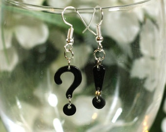 Black Exclamation Point and Question Mark Charm Earrings - Fashion Jewelry Accessories