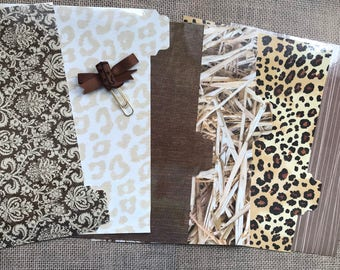 Planner divider set with planner clip.  Six (6) A5 tabbed and laminated. Brown and beige.