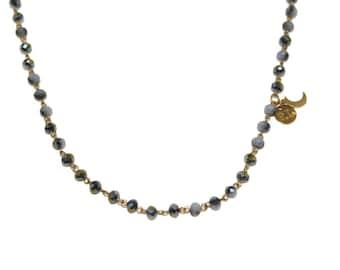 Petite Lune Signature Titanium Blue Rosary Necklace