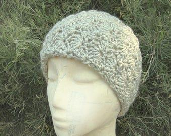 Wide Winter Headband - Gray Earwarmer - Crochet Knit Ski Headwarmer