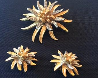 Vintage Coro Chrysanthemum Brooch and Earrings
