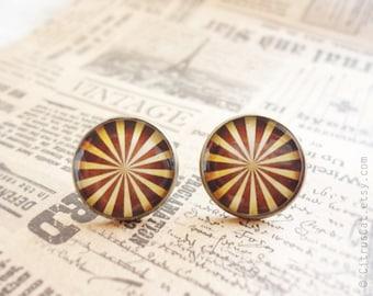 Brown stripes stud earrings, Brown earrings, Circus jewelry, Autumn earrings, post earrings, brown studs
