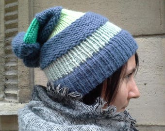 Pick your colors! Handknit Slouchy Hat beanie Stripes