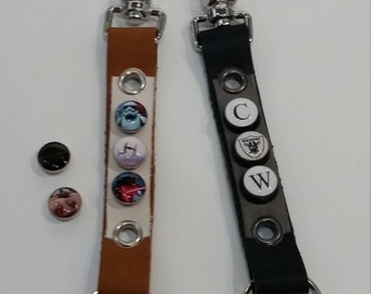 Custom Charm Leather Keychain Belt Clip